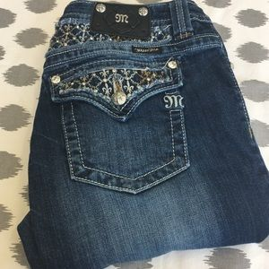 Miss Me Bootcut Jeans 34 JP6109B Bling Embellished